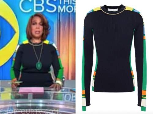 gayle king, cbs this morning, navy colorblock sweater