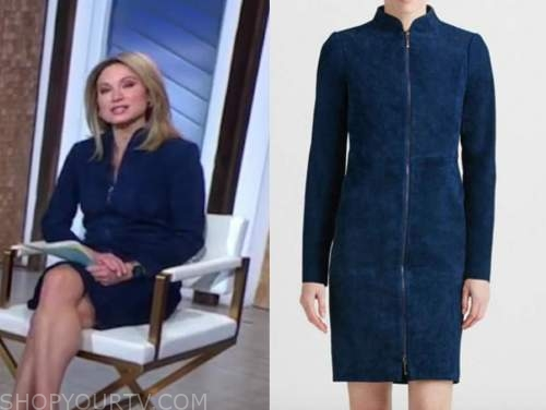 good morning america, amy robach, blue suede dress