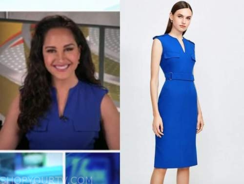emily compagno, outnumbered, blue pencil dress