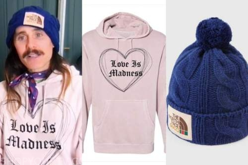 jared leto, the kelly clarkson show, pink hoodie, blue cable knit beanie