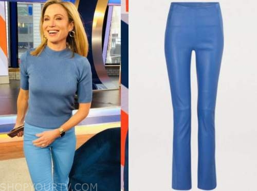 amy robach, blue leather pants, good morning america, gma3