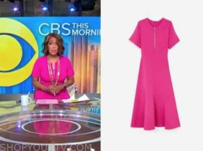 gayle king, cbs this morning, hot pink knit dress