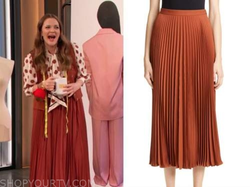 drew barrymore, drew barrymore show, rust red pleated skirt