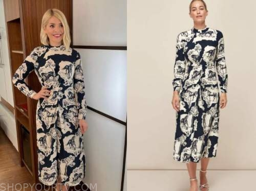 holly willoughby, this morning, navy blue and white horse print silk midi dress