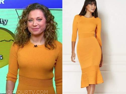 ginger zee, good morning america, yellow ribbed knit dress