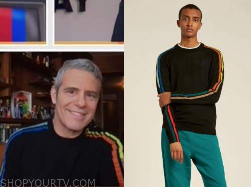 andy cohen, the today show, black multicolor striped shoulder sweater
