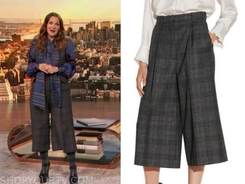 drew barrymore show, drew barrymore, grey plaid culottes