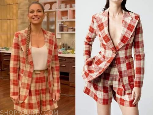 maria menounos, live with kelly and ryan, red plaid blazer and shorts