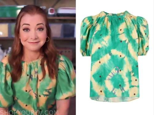 Alyson Hannigan, the drew barrymore show, green and yellow tie dye top