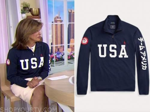 the today show, navy blue usa sweater, hoda kotb