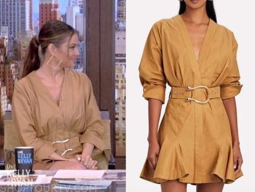 maria menounos, live with kelly and ryan, camel beige gold belted dress