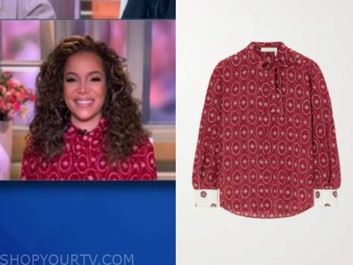 sunny hostin, the view, red printed blouse