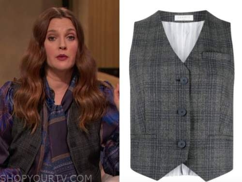 drew barrymore, drew barrymore show, grey plaid vest