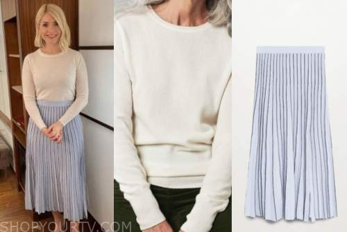 holly willoughby, this morning, white jumper, blue knit pleated skirt