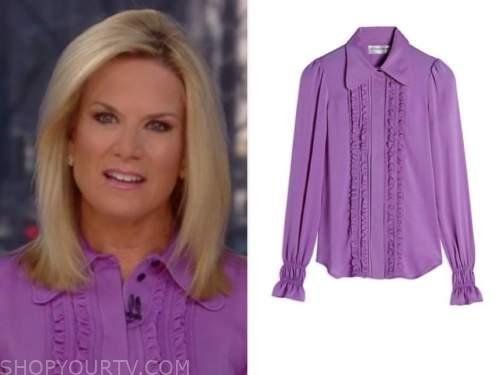 the story, martha maccallum, purple ruffle silk blouse