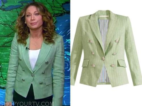 ginger zee, mint green double breasted blazer, good morning america