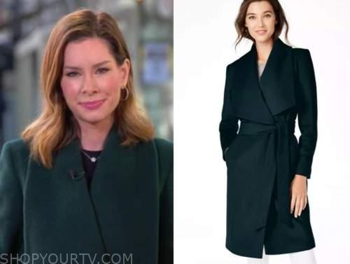 rebecca jarvis, good morning america, green wrap coat