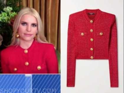 jessica simpson, good morning america, red metallic knit cardigan jacket