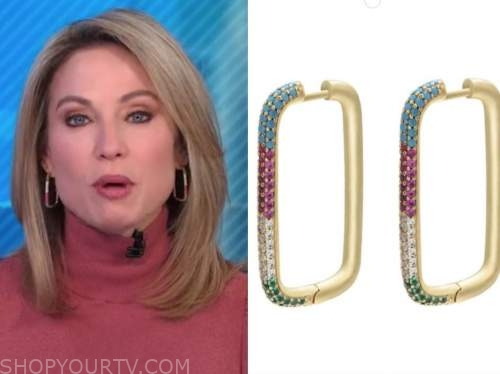 amy robach, good morning america, pave multicolor square hoop earrings
