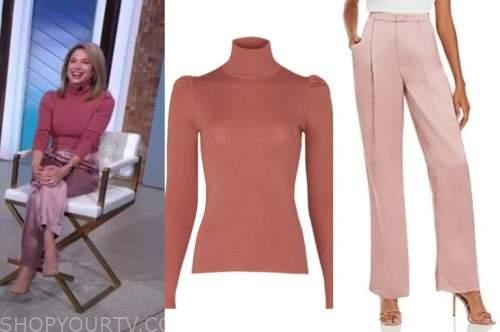 amy robach, good morning america, gma3, pink turtleneck, pink satin pants