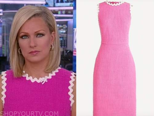 sandra smith, america reports, fox news, hot pink tweed scallop sheath dress