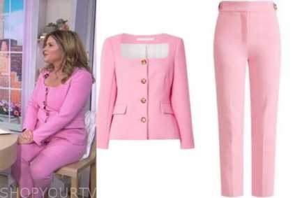 the today show, jenna bush hager, pink square neck jacket and pink pants