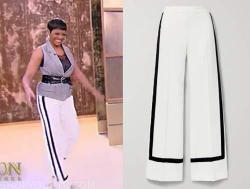 tamron hall, tamron hall show, white and black contrast trim pants