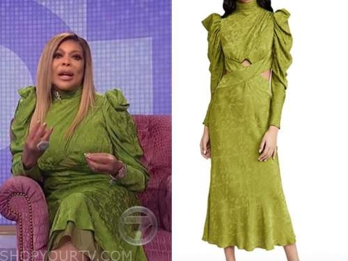 wendy williams, the wendy williams show, green jacquard satin mock neck midi dress