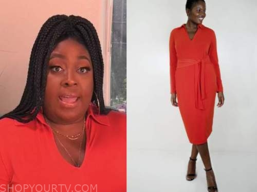 the real, loni love, red knit dress