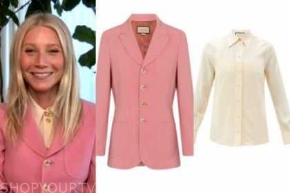 Gwyneth Paltrow, the kelly clarkson show, pink wool blazer, ivory shirt