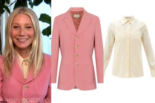 Gwyneth Paltrow, the kelly clarkson show, pink wool blazer, ivory shirt