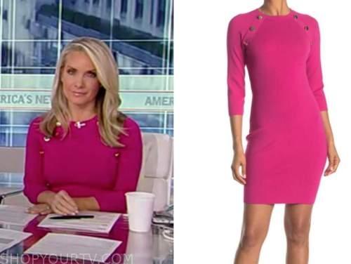 dana perino, america's newsroom, hot pink knit button dress