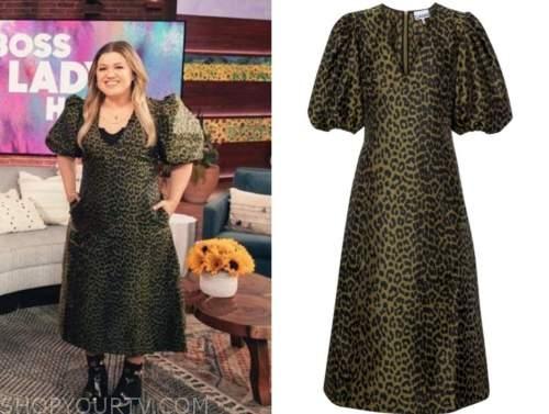 kelly clarkson, the kelly clarkson show, green leopard midi dress