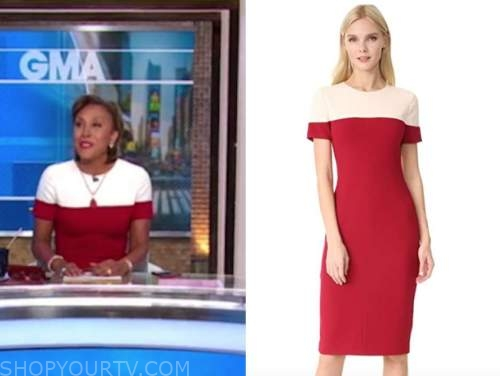 robin roberts, good morning america, red and white colorblock sheath dress