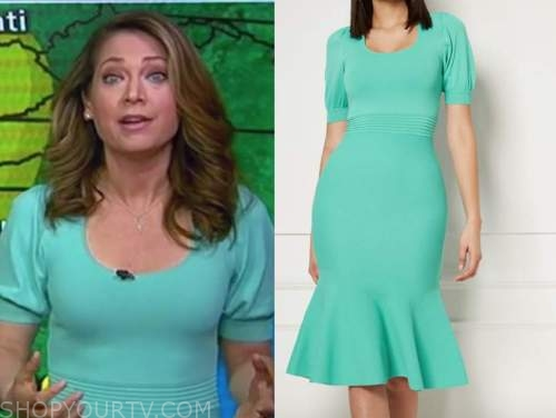 ginger zee, good morning america, mint green knit dress