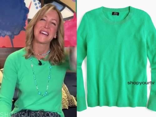 good morning america, lara spencer, green sweater