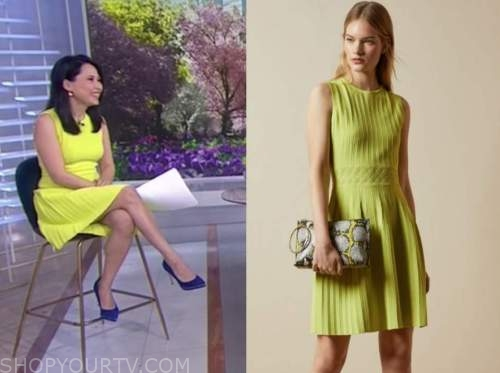 vicky nguyen, the today show, yellow knit pleated dress