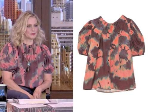 ali wentworth, coral pink tie dye top, live with kelly and ryan