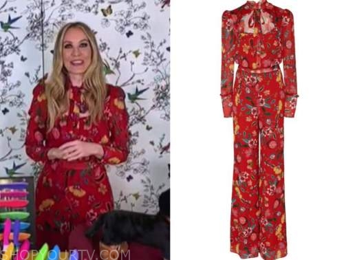 chassie post, the today show, red floral tie neck jumpsuit