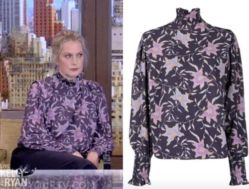 ali wentworth, live with kelly and ryan, navy blue and purple floral mock neck top