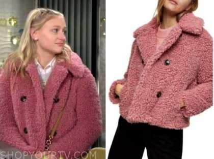 the young and the restless, faith newman, alyvia alyn lind, pink fur jacket