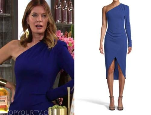 phyllis newman, michelle stafford, the young and the restless, blue one-shoulder dress