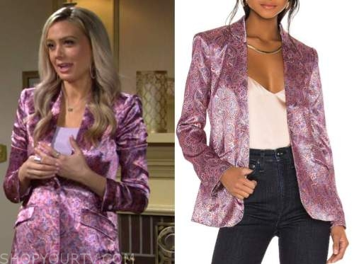 abby newman, melissa ordway, the young and the restless, pink jacquard satin blazer