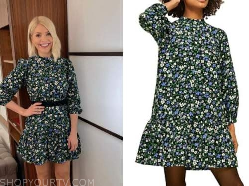 holly willoughby, this morning, floral long sleeve dress