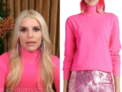 jessica simpson, live with kelly and ryan, hot pink turtleneck