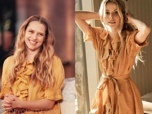teresa palmer, the kelly clarkson show, mustard yellow ruffle dress