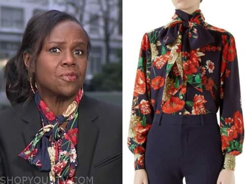 deborah roberts, good morning america, navy blue and red floral tie neck blouse