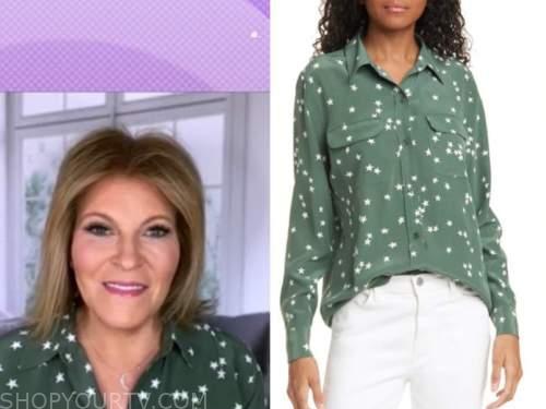 tory johnson, good morning america, green star print shirt