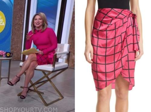 amy robach, good morning america, pink silk windowpane grid skirt