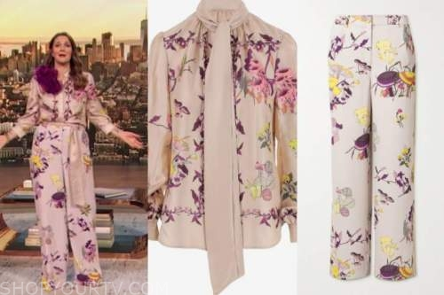 drew barrymore, drew barrymore show, pink floral mushroom tie neck blouse and pants